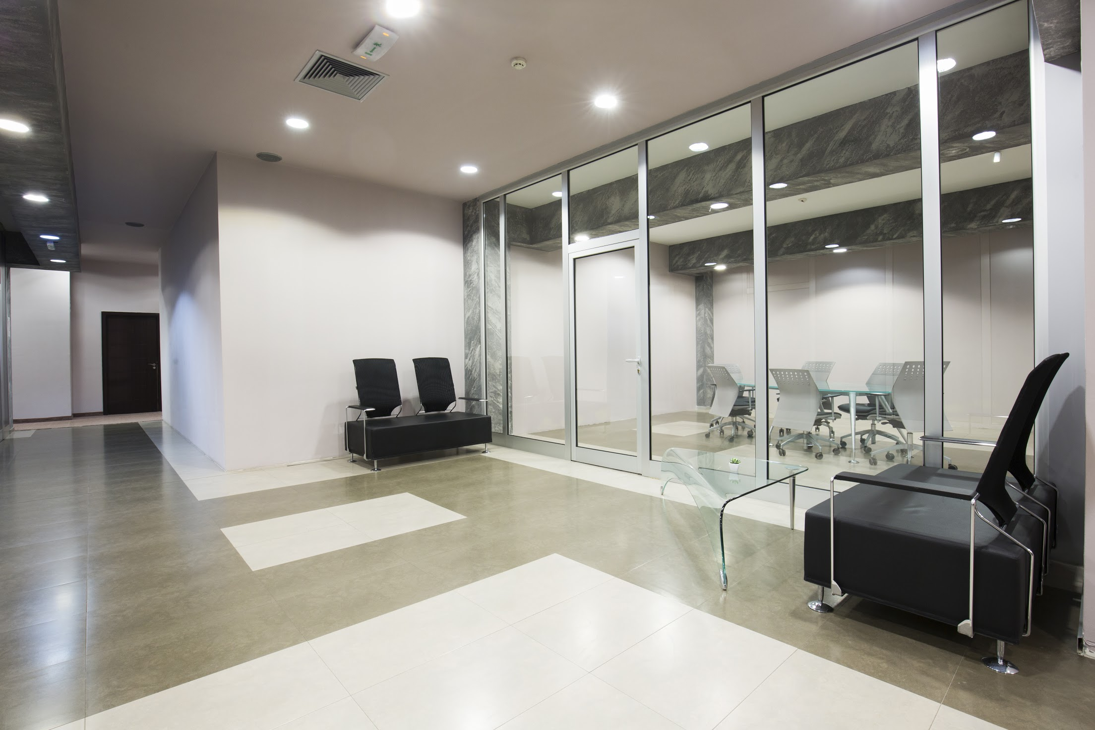 Glass partitions in commercial space